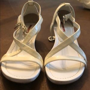 White Patent Prada sandals
